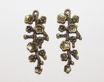 Braches with Flowers and Leaves Charms Bronze tone Leaf charms
