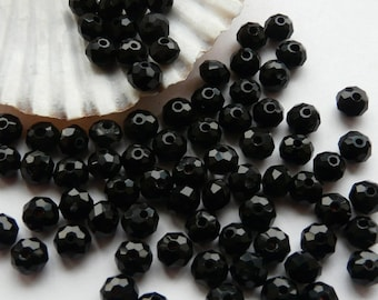 20 Black Glass Crystal Faceted Beads 6mm