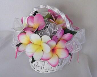 Flowergirl Wicker Basket Real Touch Frangipani Plumeria