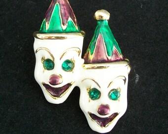 Enamel on Metal Double Clown Pin Brooch