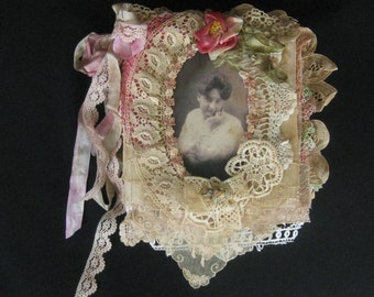 One of a Kind Shabby Chic Mixed Media Collage Book with Lace, Ribbonwork, Photographs