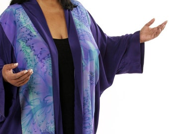 Plus Size Designer Silk Jacket Handpainted Amethyst, Aqua, Teal Salt Dyed