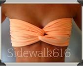 Peach Bandeau Top Spandex Bandeau Bikini Bandeau Swimsuit