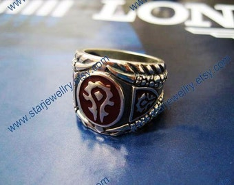 Steampunk World of Warcraft Theme Horde badge carving ring---925sterling ring