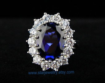 very beautiful engagement ring wedding ring princess kate wedding ring 925sterling with blue gem - Princess Kate Wedding Ring