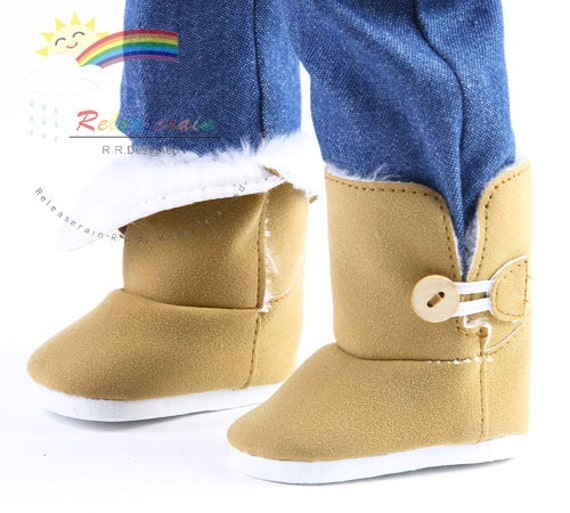 "Faux Suede Fur Lining Winter Button Snow Boots Doll Shoes Camel for 18"" American Girl dolls"