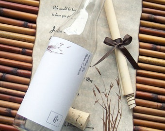 Message In A Bottle Destination Wedding Invitation Sample In Whisper Design with Seaside Flora Accent.