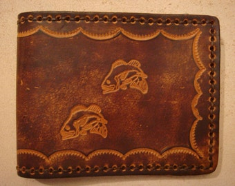 Tooled Brown Leather Wallet - Leather Billfold - Bass Fish