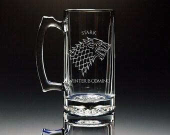 Game of Thrones, Glass, Mug, Stark, Targaryen, Lannister, Baratheon, Beer Mug, Glassware, Personalized, Drinking Glass, Etched, Engraved