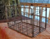 vintage metal folding milk crate basket
