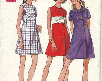 1960s Butterick 5653 Dress Pattern, Size 10