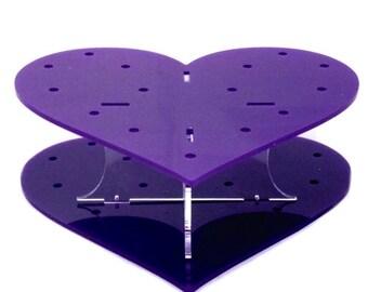 Heart Shaped Purple Acrylic Cake Pop Stand - 32 Holes