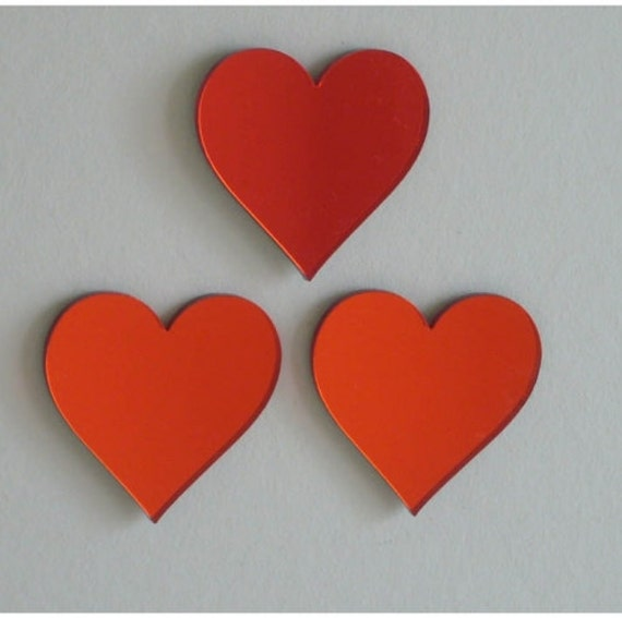 red heart mirrors set of three 4cm x 4cm by supercoolcreations