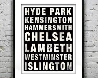 London England Subway Poster Art Print England UK Chelsea Lambeth Westminster Hammersmith