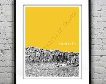 Sardinia Italy Poster Art Print City Skyline