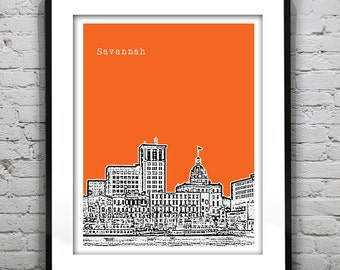 Savannah Georgia Skyline Poster Art Print Version 1 GA