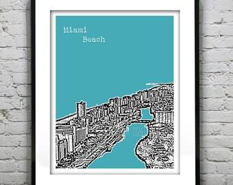 Miami Beach Skyline Poster South Beach Art Print Florida Biscayne Bay