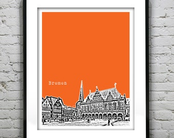 Bremen Poster Rathaus Germany Art Print Skyline