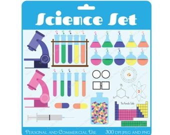 Science Lab Set Digital Scrapbook Embellishments and Clipart Instant Download