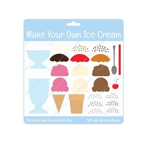 INSTANT DOWNLOAD Make Your Own Ice Cream Set Design Elements