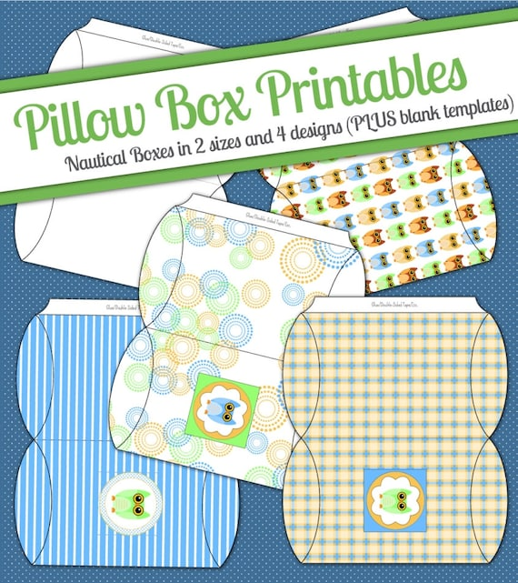 Instant download owl diy printable pillow boxes digital jpeg for Owl pillow box template