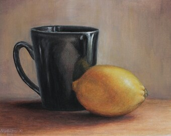 Still life with a lemon and a cup
