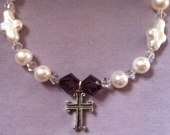 Cross Bracelet with White Freshwater Pearls and Swarovski Crystals