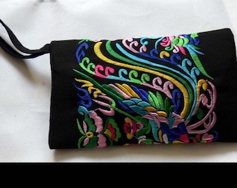 Folk style ladies embroidered bag retro classic Long Wallet Purse Compact Wallet