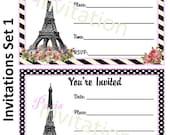 Paris Theme Party Invitation