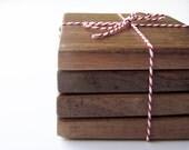 ON SALE 50% OFF- Reclaimed Walnut Wood Coasters- set of 4