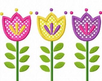 Tulip Flowers Applique Machine Embroidery Design NO:0025