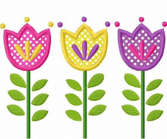Tulip Flowers Applique Machine Embroidery Design No 0025