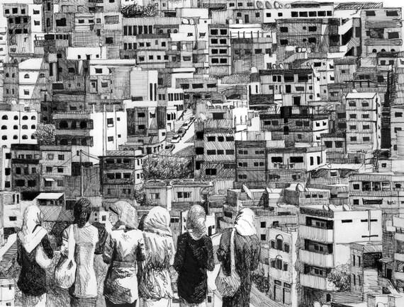 Amman Original Pen Drawing - Black and White