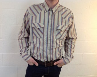 "L/S Western-Style Purple & Tan Striped Shirt by ""Saddle King Tall"" - XL"
