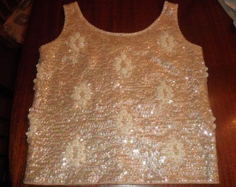 Bead and Sequin Vintage Tank Top