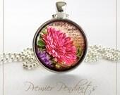 Pink Dahlia Flower Necklace Pendant Jewelry Vintage Image Art 0111SC