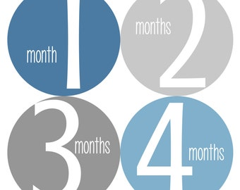 Monthly Baby Stickers, Baby Boy Monthly Stickers, Monthly Bodysuit Stickers - Boy, Baby Boy, Baby Shower Gift, Grey, Blue
