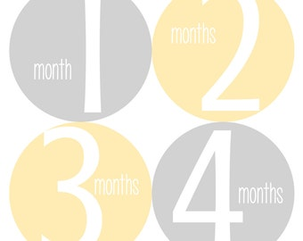Baby Monthly Stickers, Monthly Bodysuit Stickers - Yellow, Grey, Baby Shower Gift, Gender Neutral