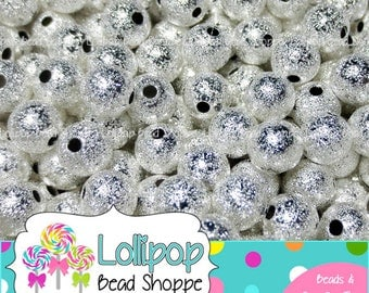4mm Silver STARDUST Beads Round Silver Spacer Metal Beads Sparkly Spacers Glitter Beads Sparkle Bling Beads Bubblegum Beads Bottlecap Beads