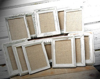 twenty 5x7 picture frames painted and distressed in the color you choose