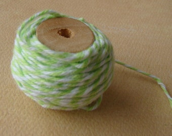 One (1) Spool of Twine - Lime Green and White Twine -10 Yards