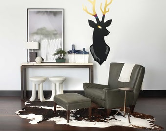 Geometric Deer Head Wall Decals Geometric Animals Wall - Custom vinyl wall decals deer