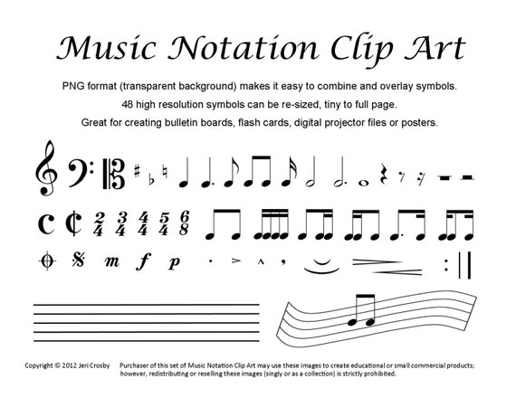 Music Notation Clip Art 48 Common Symbols