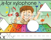 X is for Xylophone Alphabet File Folder Game - Downloadable PDF Only