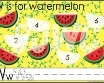 W is for Watermelon Alphabet File Folder Game - Downloadable PDF Only