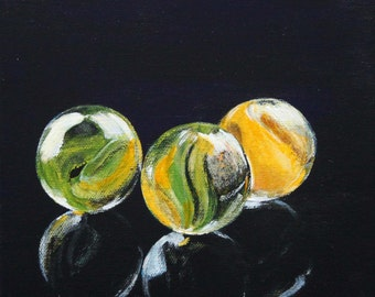 Marbles original painting 7,87 inch x 7,87 inch, FREE SHIPPING, acrylic still life