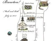 Made to Order - Custom Wedding Map - Illustrated Watercolor Map - Art Marker, Watercolor, Custom - Brewton, Alabama