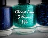 Mini Glitter Nail Polish 5 free nail polish handmade indie nail polish vegan cruelty free nail polish set mix and match