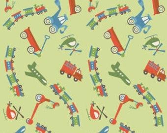 Riley Blake Scoot Green Train Fabric (1 yd)