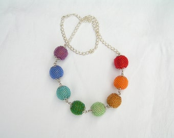 Colors of the rainbow - beaded necklace with peyote balls